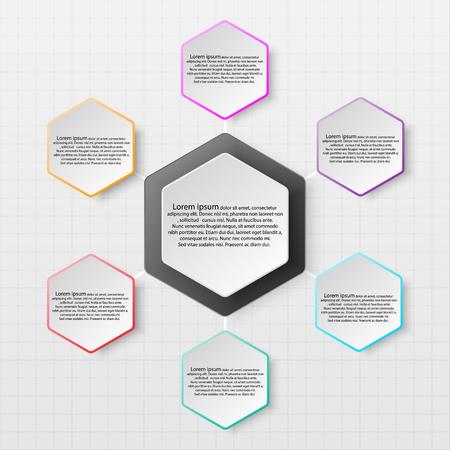 Hexabon en papier avec un bord coloré sur l'ombre portée pour la présentation du site Web Affiche Conception de vecteur Concepteur d'illustration infographique