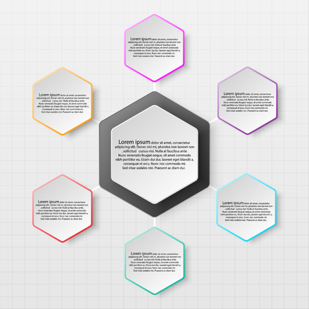 Paper hexabon with colorful edge on drop shadow for website presentation cover poster vector design infographic illustration concept Illustration