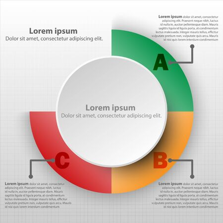 3D paper circle with colorful percentage level pie chart for website presentation cover poster vector design infographic illustration concept