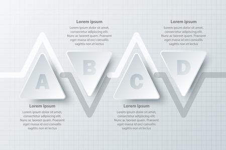 Quatre thèmes texte blanc simple triangle 3D sur le calendrier pour la présentation du site web affiche affiche vecteur conception infographique illustration concept
