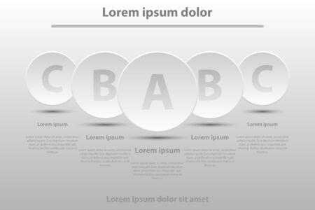 Cinq cercles de papier 3D blancs simples pour la présentation du site Web Afficheur vecteur vectoriel concept d'illustration infographique