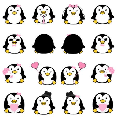 Ensemble de collection de pingouins de bande dessinée jolie et mignonne avec variété icône de vecteur isolé Illustration