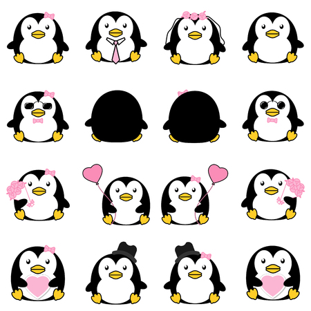 Lovely cute couple cartoon penguin collection set with variety charactor isolate vector icon