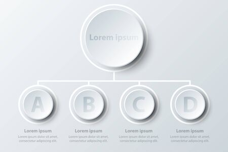 Four topics simple white 3d paper circles in organize chart for website presentation cover poster vector design infographic illustration concept Illustration