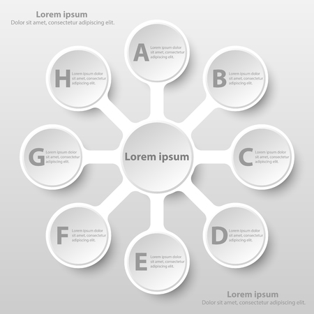Simple white 3d paper circle with eight topics for website presentation cover poster vector design infographic illustration concept