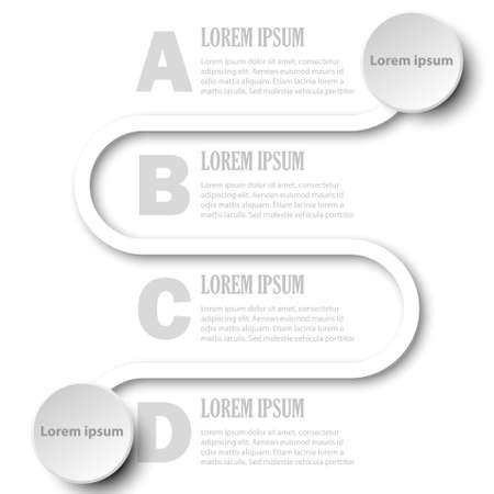 Simple white 3D paper circle with four topics for website presentation cover poster vector design infographic illustration concept