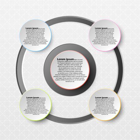 Cercle de papier avec un bord coloré sur l'ombre portée pour la présentation du site couverture affiche vecteur conception infographique illustration concept