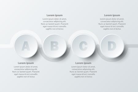 Quatre sujets simple papier blanc cercle 3D sur le calendrier pour la présentation du site couverture affiche vecteur conception infographique illustration concept Illustration
