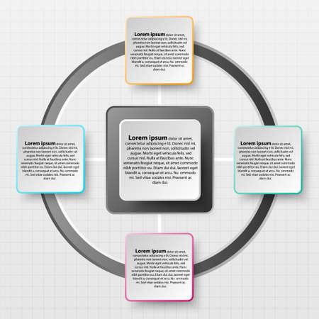 Paper Square avec un bord coloré sur l'ombre portée pour la présentation du site Web affiche vecteur conception vectorielle concept infographique