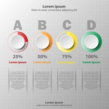 Cercle en papier 3D avec un pourcentage coloré pour la présentation du site Web affiche vecteur conception concept d'illustration infographique