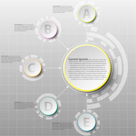 Coloful paper circle with five topics for website presentation cover poster vecteur conception infographique illustration concept