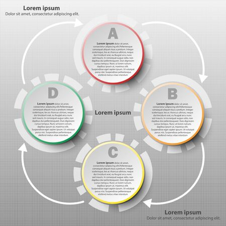 Coloful paper 3d circle in cycle loop sequence for website presentation cover poster vecteur conception infographic illustration concept