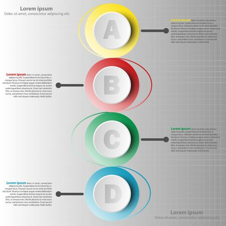Cercle de papier Coloful 3d avec quatre sujets en vue verticale pour présentation de site Web Afficheur design vectoriel concept d'illustration infographique