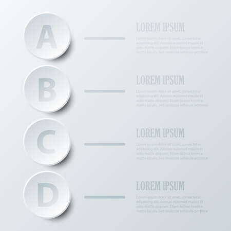 Four topics simple white 3D paper circle for website presentation cover poster vector design infographic illustration concept