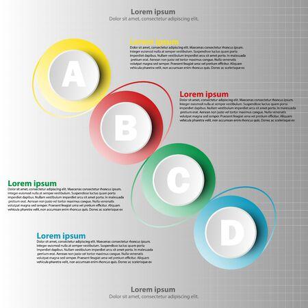 Coloful paper circle 3d avec quatre sujets pour la présentation du site web poster vecteur vectoriel illustration infographique illustration concept Illustration
