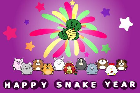 Happy new year for Snake year of animal symbol Chinese zodiac horoscope in cartoon vector design illustration