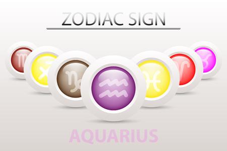 Horoscope astrologie signe du zodiaque symbole de Verseau sur la séquence avec 3d bouton simple bouton blanc et ombre dans la conception graphique icône vecteur