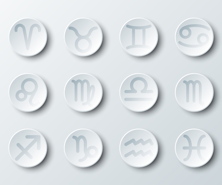 Simple white 3d circle paper of zodiac astrology sign for vector design illustration concept