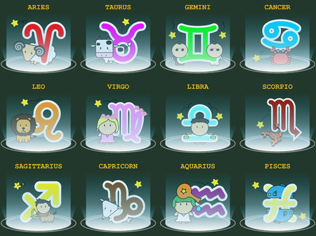 Big colorful horoscope astrology zodiac sign symbol with character and spotlight in graphic design icon vector illustration Illustration