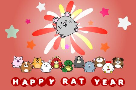 Happy new year for Rat year of animal symbol Chinese zodiac horoscope in cartoon vector design illustration