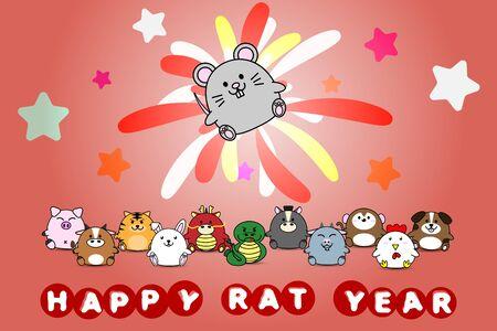 Happy new year for Rat year of animal symbol Chinese zodiac horoscope in cartoon vector design illustration