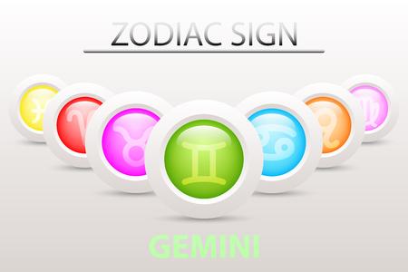 Horoscope astrologie signe du zodiaque symbole de Gémeaux sur la séquence avec 3d bouton simple bouton blanc et ombre dans la conception graphique icône vecteur