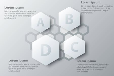 Four topics simple white hexagon 3d paper for website presentation cover poster vector design infographic illustration concept