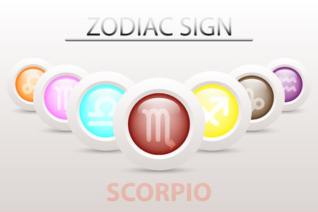 Horoscope astrology zodiac sign symbol of Scorpio on sequence with 3d simple white button paper and shadow drop in graphic design icon vector Illustration
