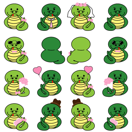 Lovely cute couple cartoon snake collection set with variety charactor isolate vector icon
