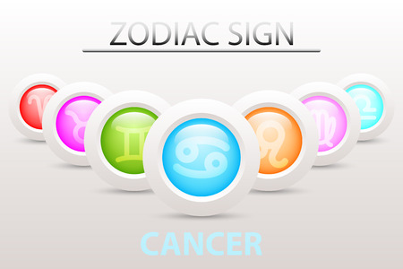 Horoscope astrology zodiac sign symbol of Cancer on sequence with 3d simple white button paper and shadow drop in graphic design icon vector