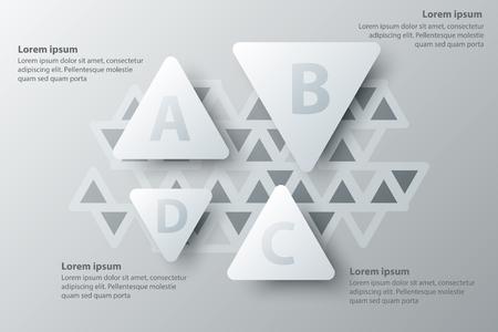 Quatre thèmes triangle blanc simple papier 3D pour la présentation du site couverture affiche vecteur conception infographique illustration concept Illustration