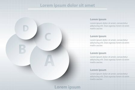 Four topics of simple white 3d paper circle on layer for website presentation cover poster vector design infographic illustration concept