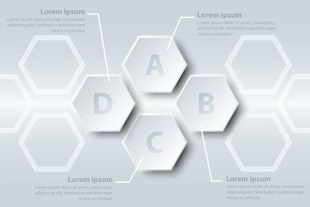 Quatre sujets simple papier blanc hexagone 3D sur la séquence pour la présentation du site couverture affiche vecteur conception infographique illustration concept