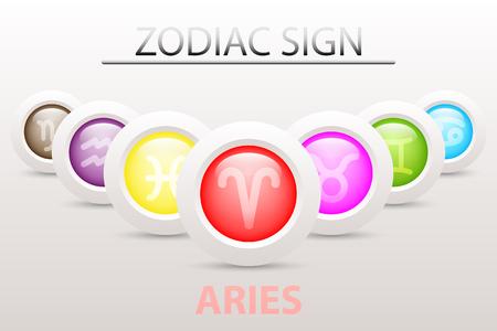 Horoscope astrologie symbole du zodiaque symbole de Bélier sur la séquence avec 3d simple papier bouton blanc et ombre dans la conception graphique icône vecteur Illustration
