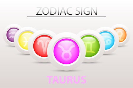 Horoscope astrology zodiac sign symbol of Taurus on sequence with 3d simple white button paper and shadow drop in graphic design icon vector