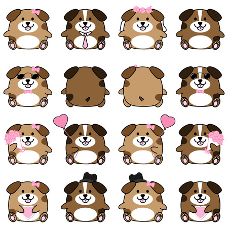 Lovely cute couple cartoon dog collection set with variety charactor isolate vector icon Illustration