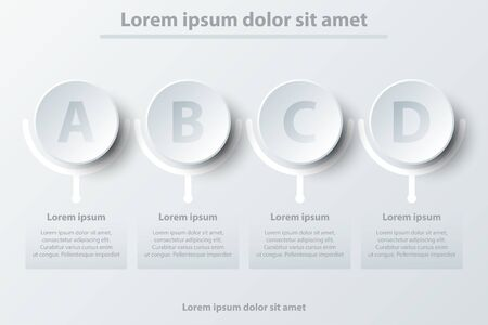 Four topics simple white paper 3D circle for website presentation cover poster vector design infographic illustration concept Illustration