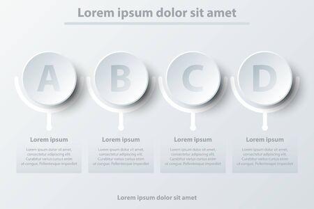 Quatre sujets simple papier blanc cercle 3D pour la présentation du site couverture affiche vecteur conception infographique illustration concept