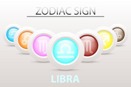 Horoscope astrologie Signe du zodiaque symbole de Libra sur la séquence avec 3d bouton simple bouton blanc et ombre dans la conception graphique icône vecteur Illustration
