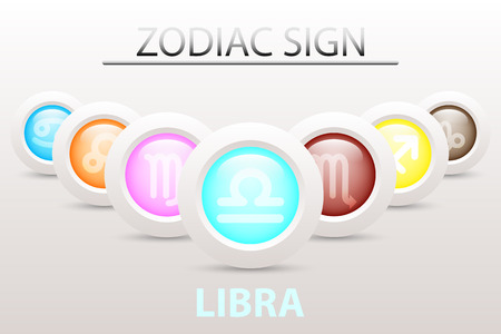 Horoscope astrology zodiac sign symbol of Libra on sequence with 3d simple white button paper and shadow drop in graphic design icon vector