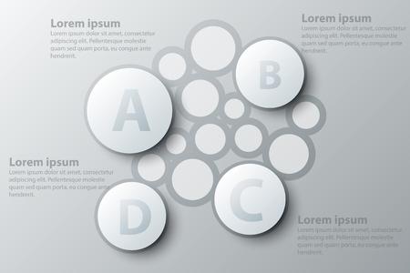 Quatre sujets simple cercle blanc 3d papier pour présentation de site web affiche affiche vecteur conception infographique illustration concept
