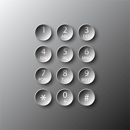 Simple black 3d number dial circle button paper for website presentation cover poster vector design infographic illustration concept Illustration