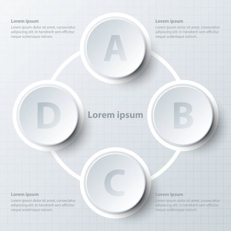 Quatre thèmes cercle de papier 3d dans la séquence de boucle de cycle pour la présentation de site couverture affiche vecteur conception infographique illustration concept Illustration