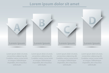 Four topics simple white 3d paper bar chart graph with arrow for website presentation cover poster vector design infographic illustration concept
