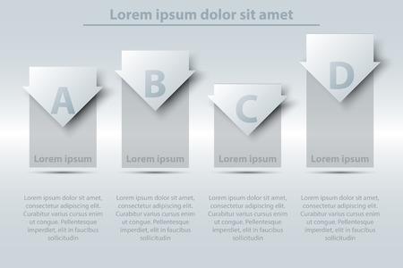Quatre thèmes, simple, blanc, 3D, papier, barre, graphique, diagramme, flèche, site web, présentation, couverture, affiche, vecteur, conception, infographique, illustration, concept