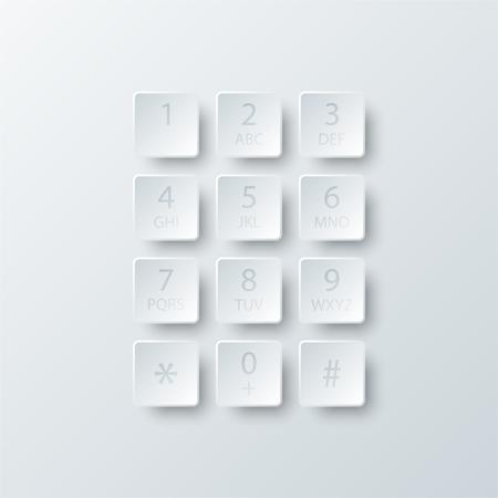 Simple, blanc, 3D, numéro, cadran, bouton, bouton, papier, Site, présentation, couverture, affiche, vecteur, conception, infographique, illustration, concept