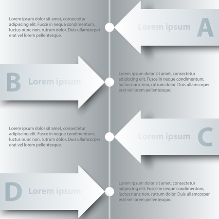 Four topics of simple white 3D paper arrow on timeline for website presentation cover poster vector design infographic illustration concept