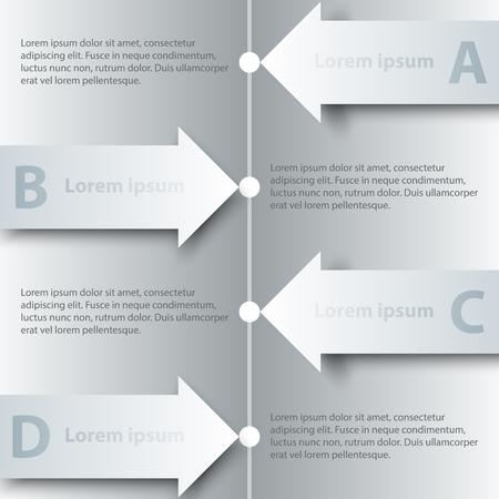 Quatre sujets de simple flèche 3D en papier blanc sur le calendrier pour la présentation du site Web Afficheur vecteur conception concept d'illustration infographique