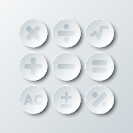 Simple, blanc, 3D, cercle, papier, calculatrice, signe, icône, vecteur, conception, Illustration, concept