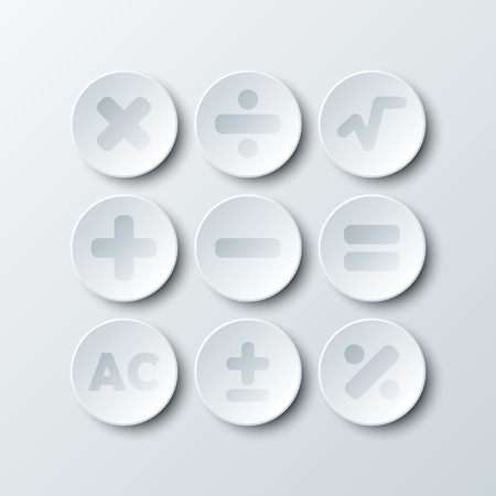 Simple white 3d circle paper of calculator sign icon for vector design illustration concept